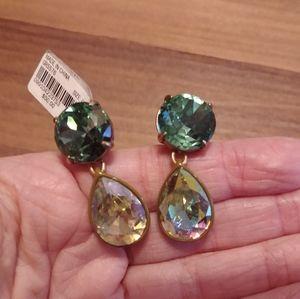 J.Crew Brûlée Brulee Green Crystal pear earrings